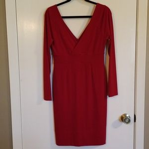 Body Con Red Dress with Deep V in front and back